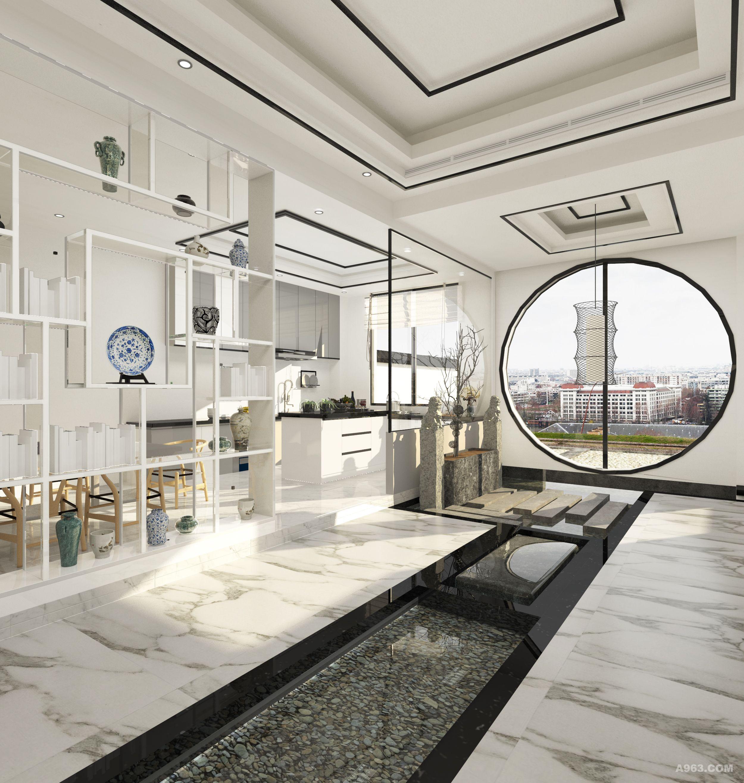 """设计理念: 寒冬的雪,至白,至清,至净,唯独白予有型于无形。白与归隐相呼应,符合项目的情节定位;白色在色彩心理学中,给人予平静,缓慢,轻松;由色彩入手,引入生活情境。 主题: 独-""""白"""" 在室内设计: 大量运用留白和框景的手法,赋予中式韵味,大量线条的运用点缀了过于单调的白色,也构成了一定的框景画面,恰到好处。 室外景观设计: 采用石牌坊立式的层叠结构,构成近远景,景中景;水池到底错落设计,休闲庭院下沉式设计,让体验者在不同空间高度和不同视觉角度去体验景观交互。形成高低错落的纵向空"""
