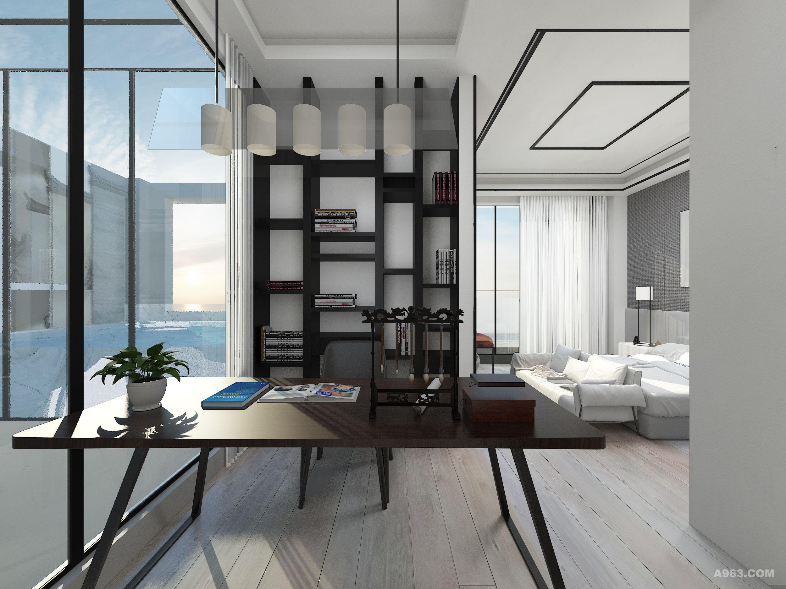 节省了空间,也统一规划了区块;一楼客厅顶部为天井,直通三楼;茶室部分